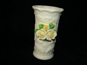 Handmade Cornerstone Creations Porcelain Ornate Vase With Applied Yellow Roses