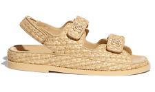 Chanel 21C Beige Raffia Pearl CC Mule Slide Strap Flat Teva Dad Sandal 35.5c