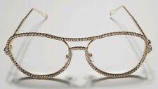 New High Quality Fashion Eyeglasses- Gold Designer Diamond Frames- Unisex