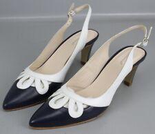 Gennia Slingpumps Gr. 42,5 Blau Weiß High Heels Schuhe Pumps Leder KR6-R25