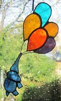 Stained Glass Blue Elephant With Balloons Suncather | Window Decoration