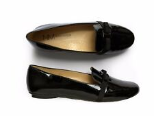 Neiman Marcus Selvia Patent Leather Grosgrain Bow Oxford Loafer Flats 6