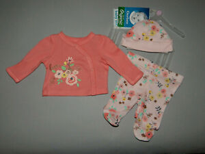 NWT, Baby girl clothes, Newborn, Gerber Organic 3 piece set/ ~~SEE DETAILS SIZE~