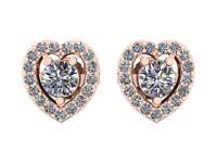 Genuine 1.10Ct Round Cut Diamond Heart Shape Halo Stud Earrings Solid 18k Gold