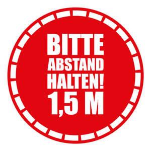 """5x Bodenaufkleber rutschgfest R9, ø40 cm -  """"Abstand halten 1,5m"""""""