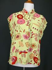 LOCO LINDO Top M L Green Pink Yellow Spring Floral  Asian
