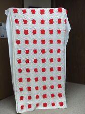 VTG Handmade Crochet Blanket Afghan Granny Square Red & White, 88 X 76, VGC,