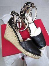 Valentino AUTH NIB Rockstud Ankle Strap Espadrilles 75mm Wedge 37 Black Y22