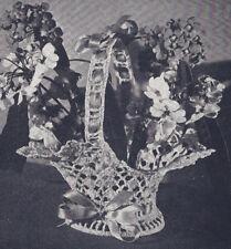 Vintage Crochet PATTERN Flower Basket Doily Bride Favor