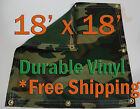 18 x 18' Heavy Duty 18 oz Vinyl Camo Camouflage Tarp Ground Cover Blind Hunting