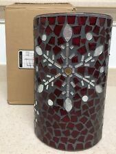 Longaberger Red Falling Snow Mosaic Large Hurricane (Snowflake Design)