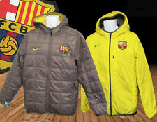 New NIKE Mens BARCELONA Football Reversible BENCH COAT Brown and Yellow M