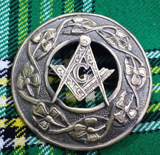 "Scottish Fly Plaid Brooch Antique Finish Masonic 3""/Masonic Fly Plaid Brooches"