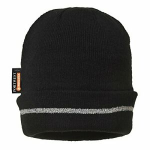 Portwest Knitted insulated beanie Hat Reflective Trim - B023