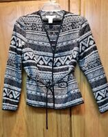 HM Women's Faux Leather Tie Trim Aztec Black Textured Jacket Blazer Size 2