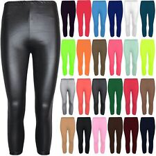 Womens 3/4 Length Plain Basic Short Jeggings Leggings Ladies PVC Viscose Pants