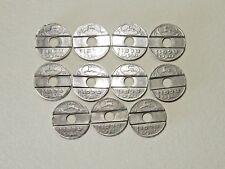 1966 Lot of 11 Israel Post Telephone Metal Token Asimon Public Phone 'Free Ship'