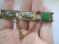 Vintage Art Deco Brass Enamel Forget Me Knot Flower Panel Safety Chain Bracelet