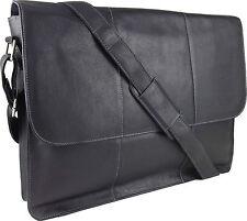 """UNICORN Réal en cuir 17"""" Laptop, Ordinateur Portable Sac Messager Noir #7G"""