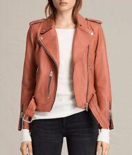 AllSaints Women's Limited Edition Burnt Coral WYATT Leather Biker Jacket UK 4