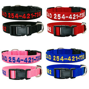 Durable Personalized Custom Embroidered Nylon Dog Collar Adjustable Name number