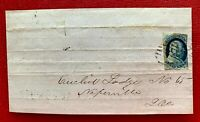1852 US Due Notice 1c Blue Franklin Imperf.