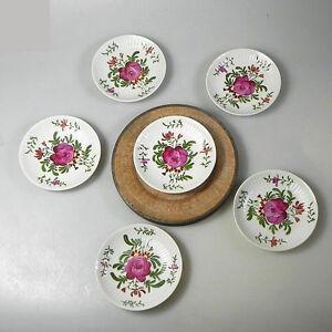 6 X  Beilagenschale Schälchen Rosendekor Handmalerei ca.10 x 1,5 cm