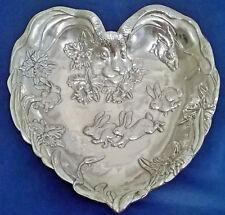 ARTHUR COURT ALUMINUM SERVEWARE LARGE BUNNY AND ORCHID HEART TRAY