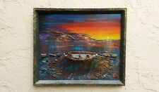 Unusual Diorama/ Seascape Painting with 3 Fishermen on Boat~half hull ship model
