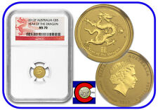 2012 Lunar Dragon 1/20 oz $5 Gold Coin, NGC MS-70, Australia, Series II