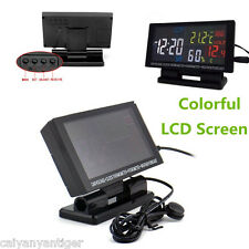 LCD Screen Digital Clock Car Thermometer Hygrometer Voltage Weather Forecast Kit
