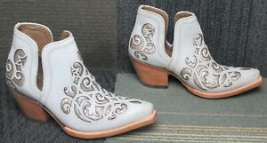 Wmns ARIAT Dixon Crackled White Western Leather Ankle Boots 7 B ~ Excellent