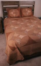 Queen Quilt Americana Melody Cathedral Window Patchwork Brown Cotton