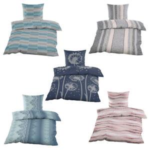 Bettwäsche Set | Baumwolle Biber | Reißverschluss | 2-4 tlg.| 135x200 cm