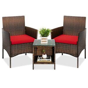 3-Piece Outdoor Wicker Conversation Bistro, Patio ChairsBrown/Red orGray/Navy