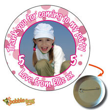 75mm HAPPY BIRTHDAY PARTY BADGE  - BIG PERSONALISED BADGES, PHOTO, ANY AGE 911