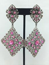 Vintage Large Pageant Pink Crystal Drag Chandelier Earrings Antique Silver Tone