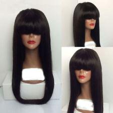 pretty fashion black long health straight bang hair lady wig wigs for women