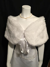 Ivory Faux Mink Fur Stole Shawl Wrap Cape Shrug Bridal