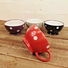 Set of 4 Large Tea Coffee Latte Stoneware Assorted Colours Dotty Mugs Cups