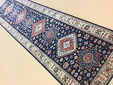 "Persian Oriental Rug Runner Karajeh Hand Knotted Navy Blue Beige 2'.6"" X 10'.0"""