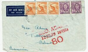 PNG 1950 cover Port Moresby to Tasmania with Australian stamps