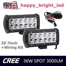 2X 36W LED CREE SPOT LIGHT BAR DRIVING VEHICLES 4X4 UTB SUV JEEP With Wiring Kit