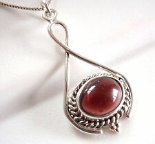 Garnet Necklace 925 Sterling Silver Rope Style Accents Infinity Hoop New
