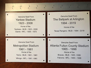 Yankee Stadium Seat Plaque 3x5 Home Of The Yankees And NFL Giants