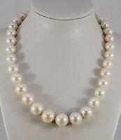 Zuchtperlenkette Collier Perlen Ø 10,9 bis 13,6 mm cremefarben Schließe Gold 585