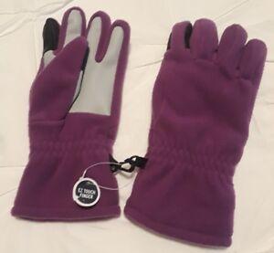 Lands End Kids girls size M medium EZ Touch fingers fleece purple grape