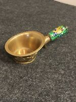 "Small Size Antique Vintage Chinese  Cloisonne Silk Coal Pan Iron 5"" Long ""CHINA"""