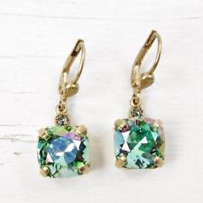 La Vie Parisienne Catherine Popesco Square Crystal Earrings in Ocean Green