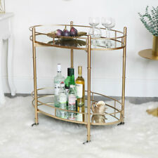 Gold Mirrored Oval Drinks Trolley bar cart glamorous art deco modern vintage